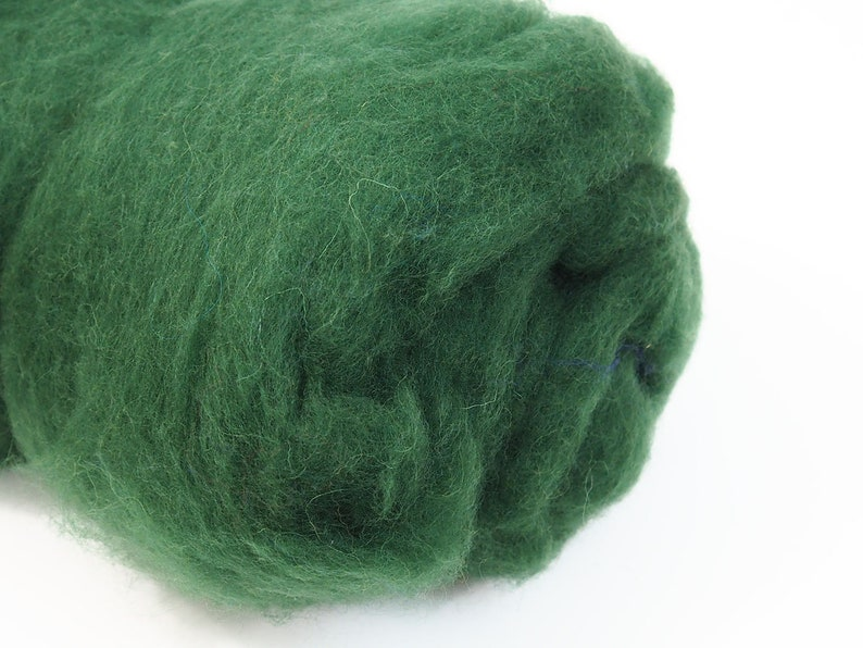 100g Carded Merino Felting Wool Batt Green 26-29mic for Needle image 0