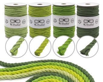 3-ply Cotton Macrame Rope/Cord 4mm 150m - Tea/Lime/Spring Green/Fern Colors - Macrame Supplies