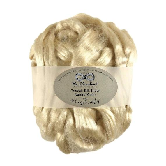 1 oz Tussah silk roving color Yolk