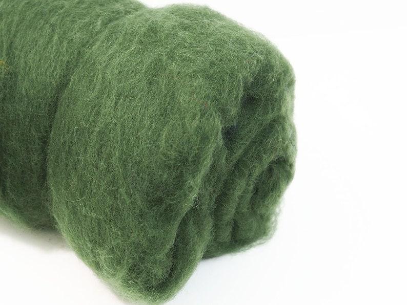100g Carded Merino Felting Wool Batt Moss Green 26-29mic for image 0