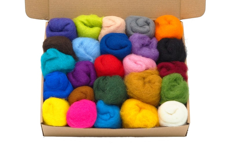 Needle Felting Kit 25 Colors Carded Wool  Needle Felting image 0