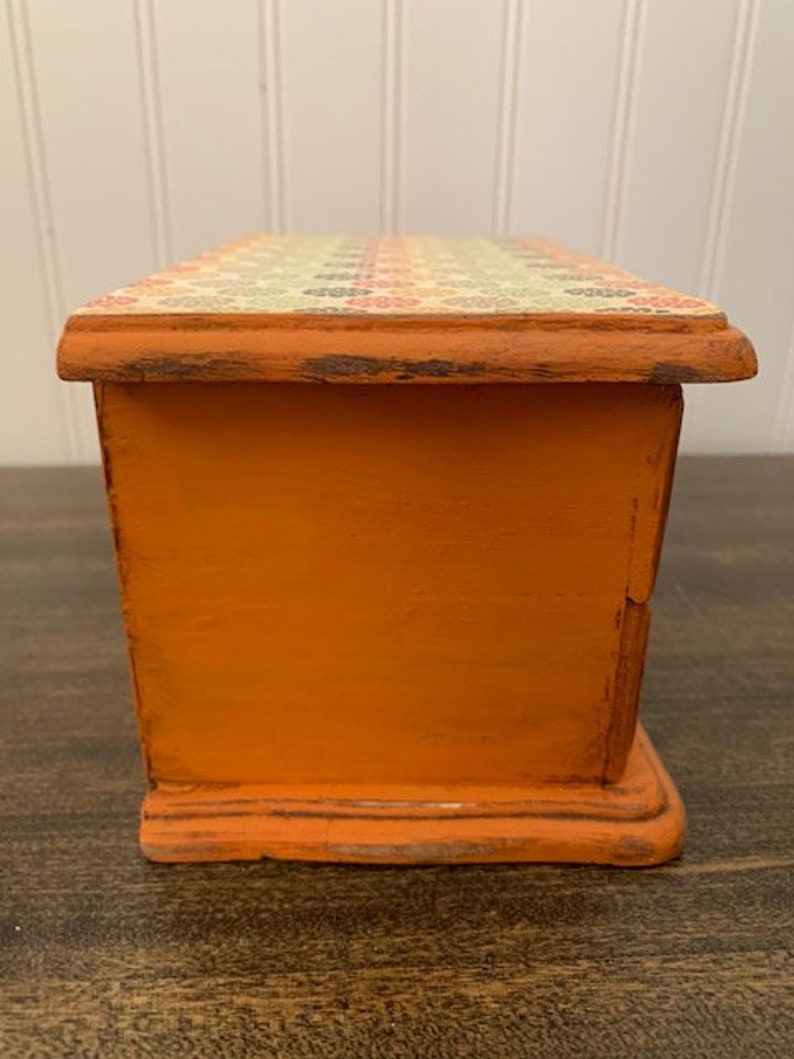 Wooden Jewelry Box Vintage Jewelry Box Lined Jewelry Box Distressed Jewelry Box