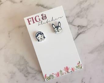 Alice in Wonderland Earrings, Alice in Wonderland Studs, Alice Through The Looking Glass Earrings, Alice Through The Looking Glass Studs