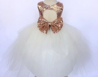 59d14bdcd Rose Gold Birthday Party Wedding Flower Girl Bridesmaid Ball Gown Sequin  Keyhole Hi Low Ivory Tulle Bow Photoshoot Prop Graduation Junior