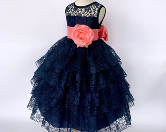 2d4856fffbc Chic Sleeveless Coral Satin Sash Navy Blue Lace Ruffle Dress 2 4 6 8 10 12  14 Wedding Flower Girl Easter Fall Spring Summer Graduation Prop