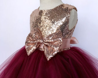 9a972e3ccdf 2 Layer Burgundy Tulle Sequence Rose Gold Sleeveless Dress Photoshoot Prop  Graduation Ceremony Wedding Flower Girl Toddler Junior Holiday