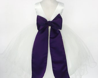 Plum flower girl etsy more colors ivory off white satin v back carnation dress plum sash flower girl mightylinksfo