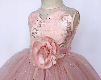 76f06b602 Blush Sleeveless Heart Shaped Top 4 Layer Glitter Tulle Ribbon Flower Girl  Dress Photoshoot Prop Birthday Party Junior Baby 2 4 6 8 10 12 14
