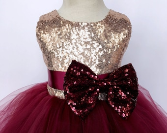 e2b1905eb29 Sleeveless Rose Gold Sequin 2 Layer Tulle Burgundy Dress Flower Girl  Graduation Ceremony Pageant Recital Wedding Toddler Infant Spring Fall