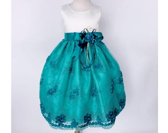 930df6c0a3c Teal Ivory Satin Tulle Embroidery Gown Attached Belt Organza Tails Winter  Wedding Flower Girl Junior Infant Recital Pageant Holiday Birthday