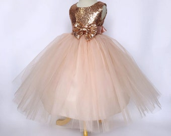 0f98d302efb Rose Gold Sequin Tulle Bridesmaid Wedding Flower Girl Birthday Pageant  Recital Blush Toddler Junior Size S M L XL 2 4 6 8 10 12 14 16