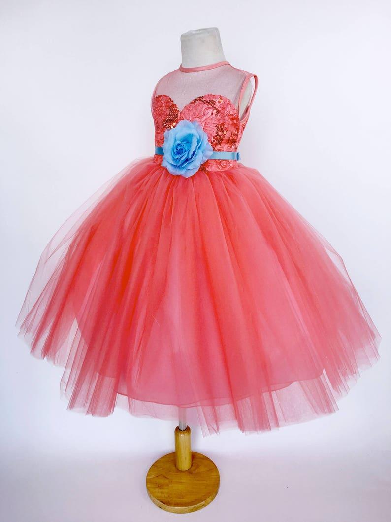 97c58035aef30e Koralle 4 Schicht Tüll Pailletten Kleid Herz Top Baby-Blau | Etsy