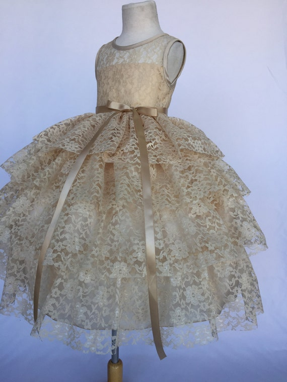 Lace Tulle Flower Girl Dress Birthday Wedding Bridesmaid Formal Easter Recital