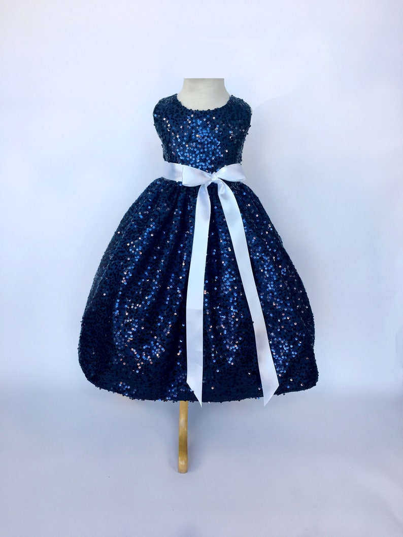 a45c5e77e06 Bridesmaid Graduation Flower Girl Navy Blue Dress Full