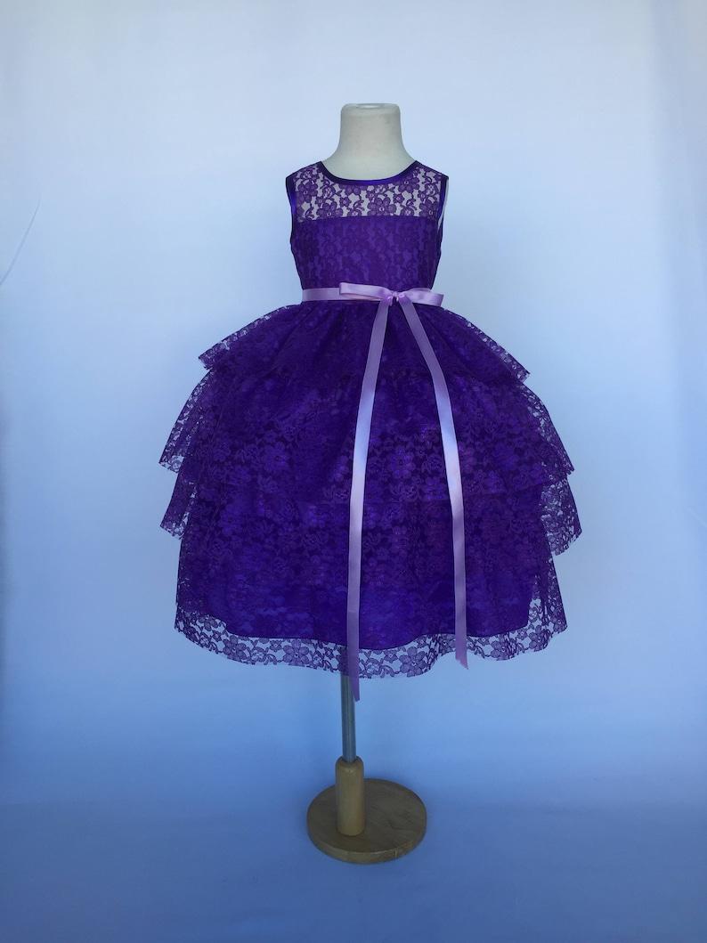 3a7bc9cdae9 Purple Sleeveless Lace Ruffle Lilac Belt Flower Girl Dress