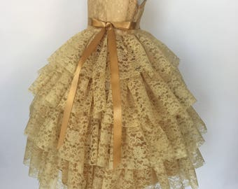 Gold Sleeveless Lace Ruffle Flower Girl Gown Wedding Bridesmaid Fall Country Chic Summer Photoshoot Ceremony Toddler Easter 2 4 6 8 10 12 14