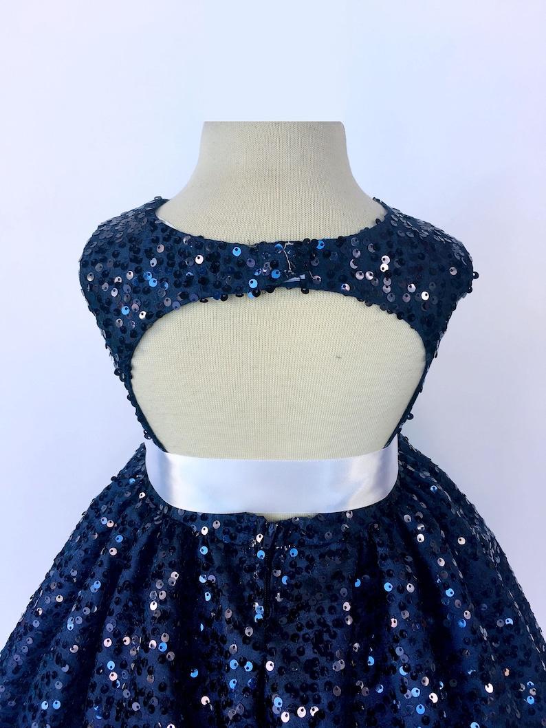 3e04eeac1da Ceremony Formal Spring Navy Blue Gown Full Sequin White Satin