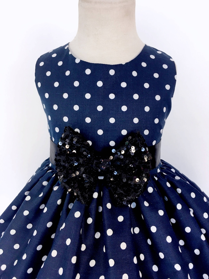 f3d5cf88723 Navy Blue Vintage White Polka Dot Black Mini Sequin Minnie