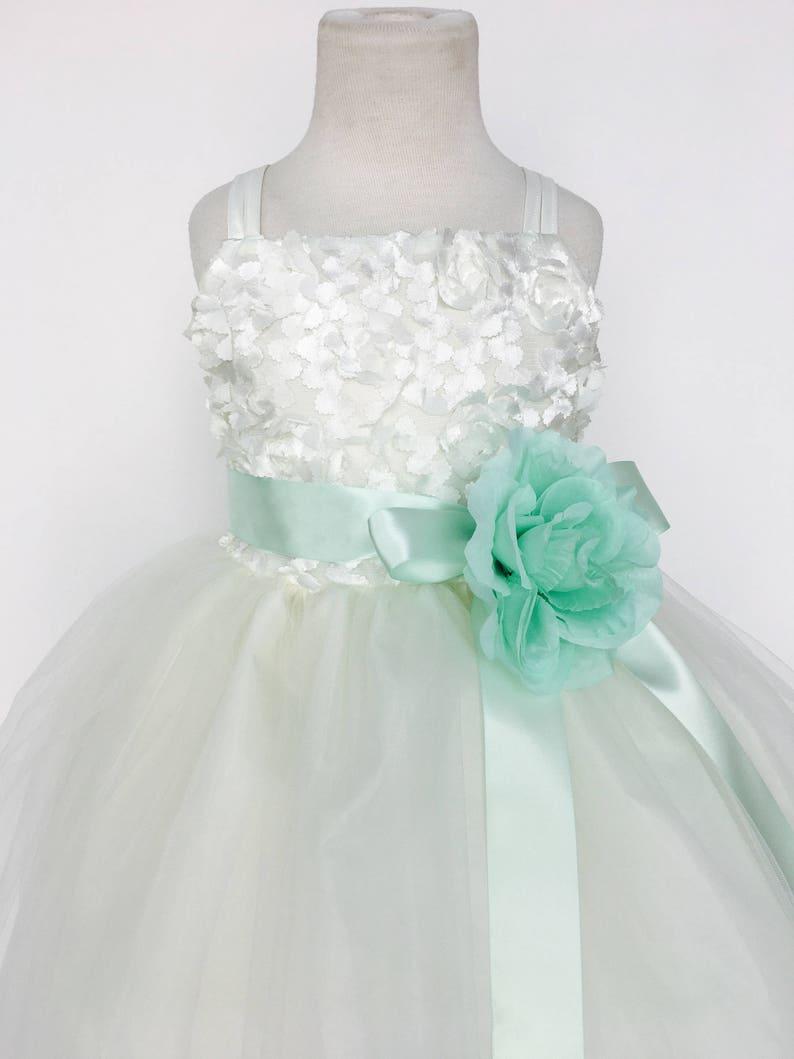 5741aa4765c Ivory Carnation Gown Mint Satin Ribbon Spaghetti Strap Flower