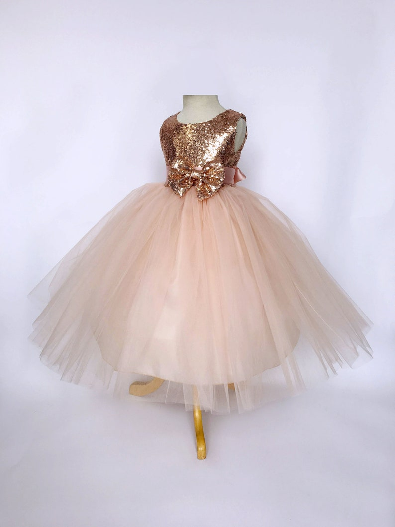 37eb0387f8eff Rose Gold Sequin Tulle Bridesmaid Wedding Flower Girl Birthday Pageant  Recital Blush Toddler Junior Size S M L XL 2 4 6 8 10 12 14 16