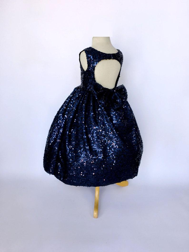 452211ead01 Navy Blue Flower Girl Dress Full Sequin Sequence Bow Keyhole