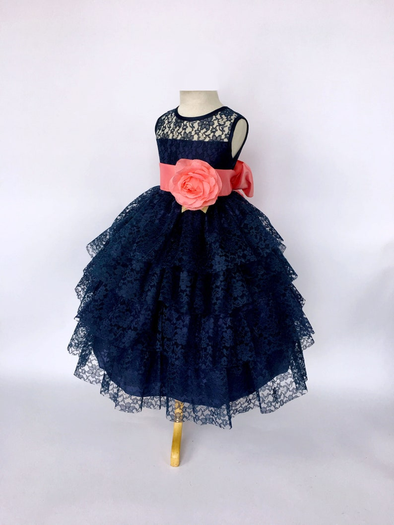 dc526d31f57 Chic Sleeveless Coral Satin Sash Navy Blue Lace Ruffle Dress 2