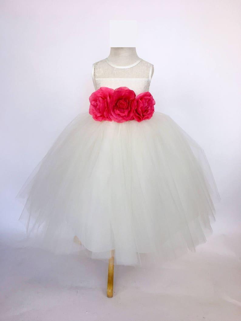 3ca44b9124b Ivory Lace Bias 4 Layer Tulle Fuchsia Hot Pink Flower Girl
