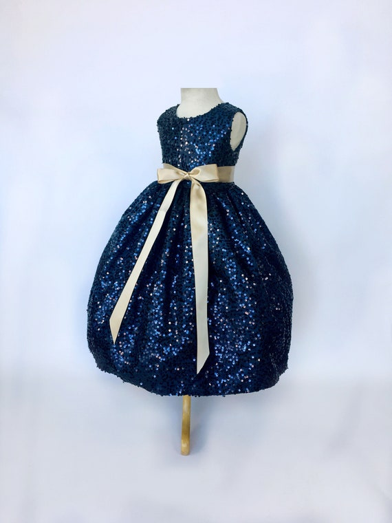 Keyhole Full Sequence Navy Blue Dress Champagne Ribbon Wedding Etsy