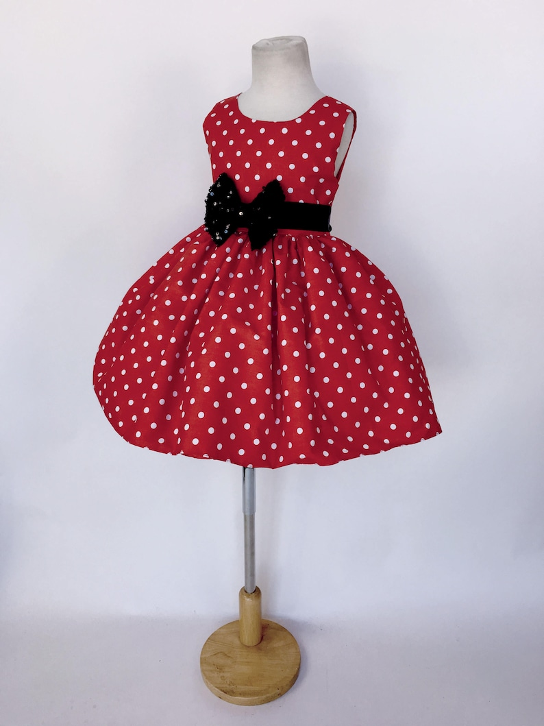 79b2c3b2c6a 1940s Red White Polka Dot Black Mini Sequin Minnie Mouse