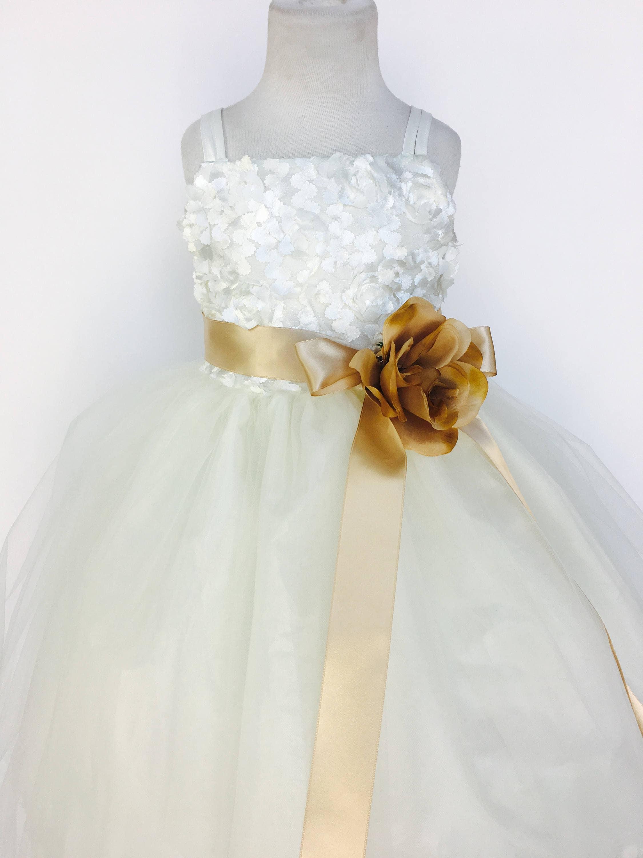 4ba7b6afc48 Ivory Spaghetti Strap Rustic Carnation Dress Champagne Ribbon