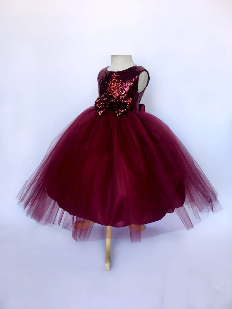 7f8bd0b5013a Sleeveless Tulle Sequence Burgundy 2 Layer Mini Sequin Bow   Etsy
