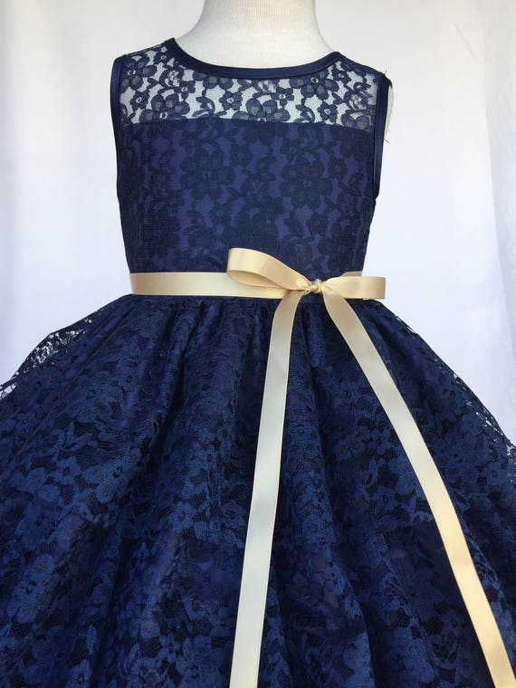 Navy Blue Lace Ruffle Champagne Belt Flower Girl Dress Wedding Bridesmaid Rustic Party Formal Recital Graduation Confirmation 2 4 6 8 10 12