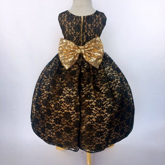 82045eb6ec Sequence Gold Bow Black Floral Lace Dress Wedding Toddler