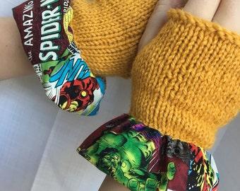 Yellow Knitted Fingerless Gloves
