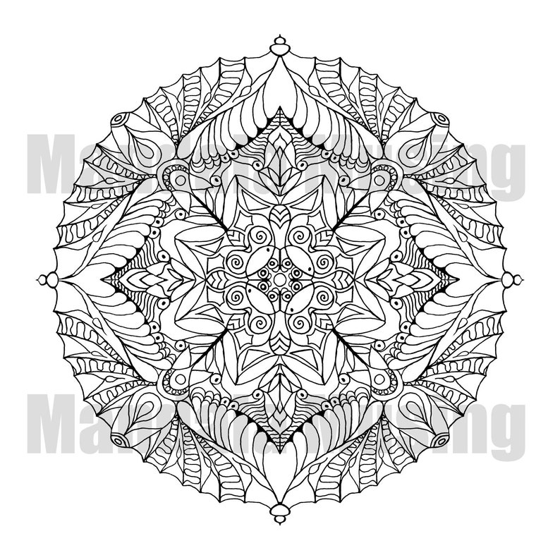 Mandala Coloring Page Printable Coloring Book Page Sunflower