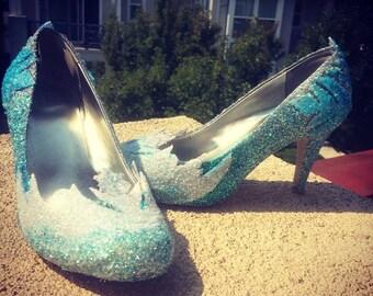 c3a78d5a4827 Snow Queen Elsa Ice Glitter Womens & Kids Heels/Flats