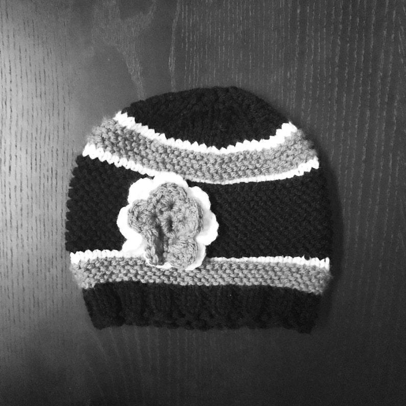 114c3e47 Oakland Raiders baby beanie, Raiders hat, Raiders Kids, Raiders women,  Raider Nation, Football beanie, crochet flower, balck gray white