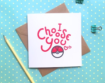Anniversary cards etsy nz i choose you pokemon card birthday card cute card pokeball funny birthday card anniversary card valentines day card boyfriend card m4hsunfo