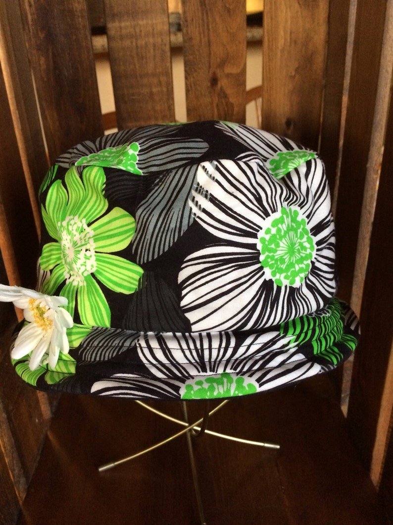 fdfa1a48210 Woman s Black White and Lime Green Floral Bucket Hat