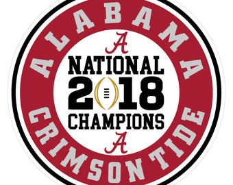 "Alabama Crimson Tide 2018 CFP National Champions Decal Matte Color Finish!  4"" circle in size.  Waterproof & Durable"