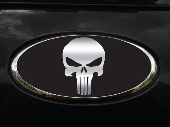NEW Fits various Ford Models Punisher Black//White Logo Overlay Decals 3PC Kit!