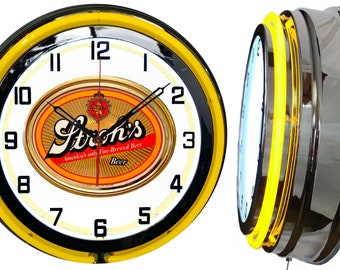 "Strohs Beer Fire Brewed 19"" Retro Double Tube Neon Clock FREE SHIPPING By: Checkingtime.com"