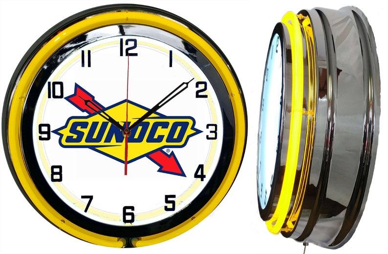 "Amoco Oil Gas Vintage Logo 19/"" Double Neon Clock Red Neon Chrome Finish"