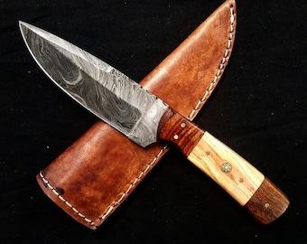 "Damascus Knife Handmade Knife, Pocket Knife Custom Damascus Steel Knife,Hunting Forged Damascus Steel Fixed Blade 10"" Wood Christmas Gift"