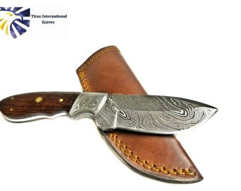Hand forged knife, Damascus knife, Hand forged Damascus, Hand made hunting knife, Camping knife by Titan Td-182