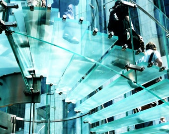 Glass Staircase; NYC Apple Store; Urban architecture; ice blue photograph; wall art; New York City; Bedroom; Office; Dorm room; Modern