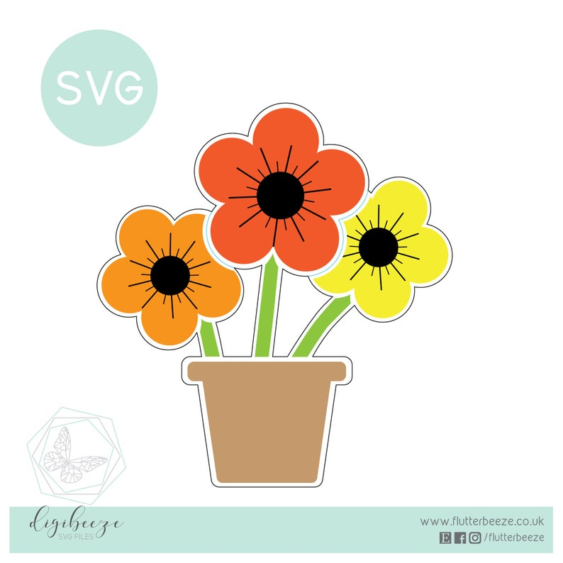 Free standing, flower pot, Acrylic Craft SVG, easter Sticker, UNLIMITED  use, cut file, silhouette cameo file, SVG cutting file
