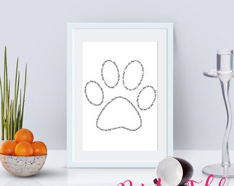 I Love My Dog Paw Print - Printable Poster - Digital Download