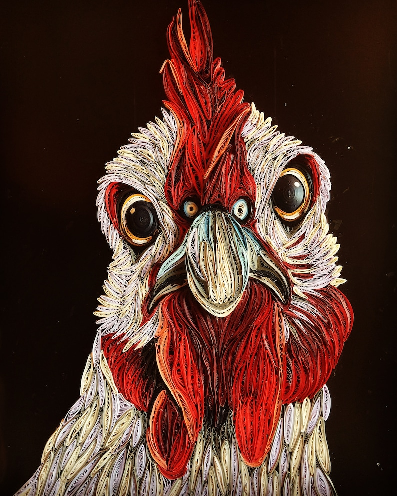 A Whimsically Fun Paper Quilling Of A Curious Chicken.