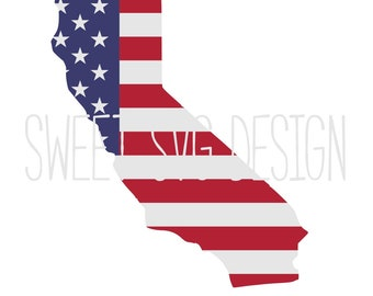 State Of California American Flag SVG Outline Svg Shirt Design Vinyl Commercial Use